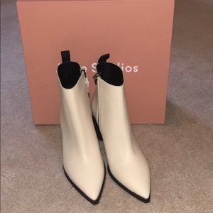 Acne Studios Ivory Leather Ankle Boots in Size 38
